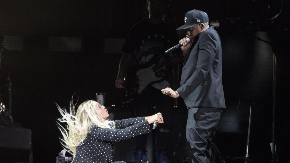 File photo of Jay Z and Beyonce performing together.