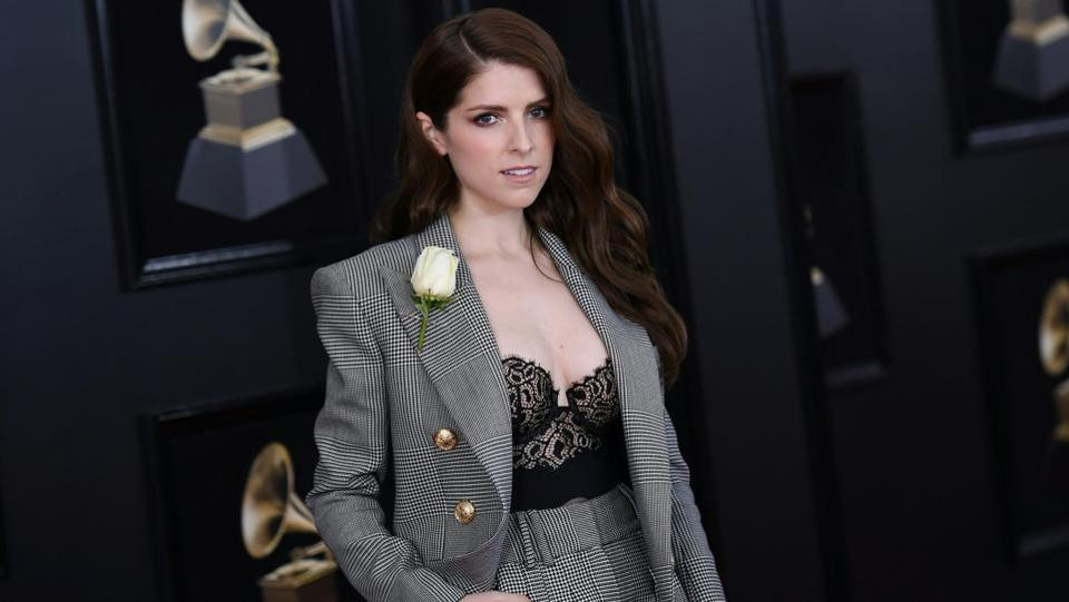 Suiting was clearly an inspiration for women at the Grammys and Anna Kendrick clearly did justice to the theme with a high-waisted plaid pantsuit. (Angela Weiss / AFP)
