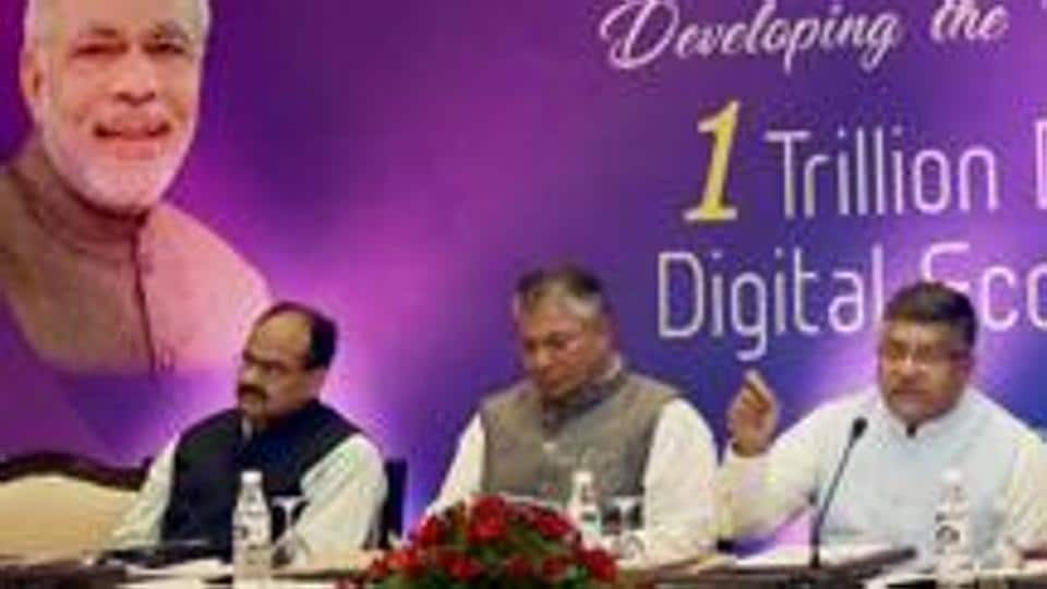 Union minister for and information technology Ravi Shankar Prasad during a high-level meeting with industry pioneers in New Delhi last year.  Referring to the RBI data, the survey said software exports registered a growth of (-)0.7% in 2016-17.