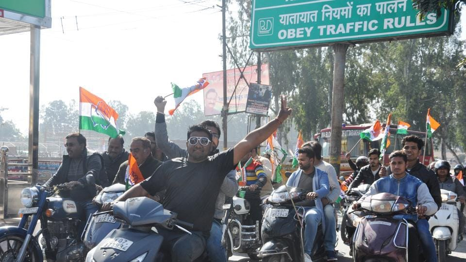 Participants flout traffic norms during the Congress' bike rally in Dehradun on Monday.