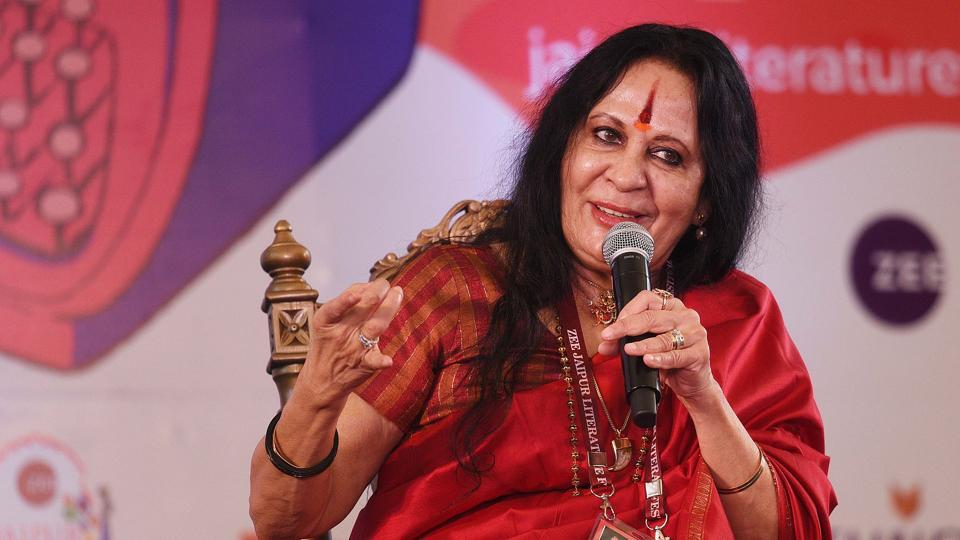 Sonal Mansingh during a session titled The Dancer and the Dance at the Jaipur Literature Festival on Sunday.