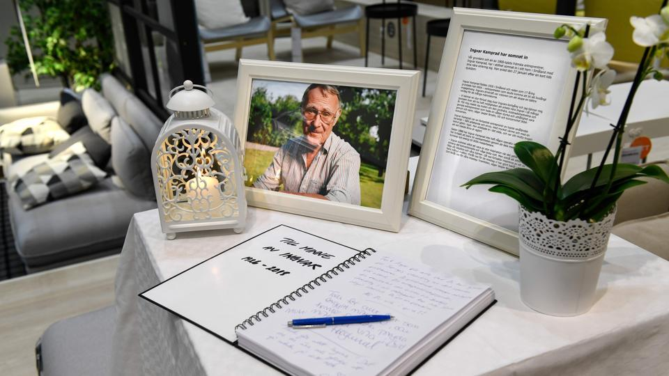 A book of condolences is placed at the entrance of an IKEA store in Stockholm, Sweden.