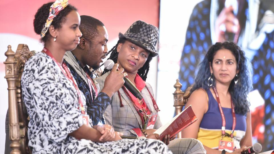 From left: Chika Unigwe, Abubakar Adam Ibrahim, Nadifa Mohamed and Abeer Y. Hoque during the session The Afropolitans at the Jaipur Literature Festival on Monday.