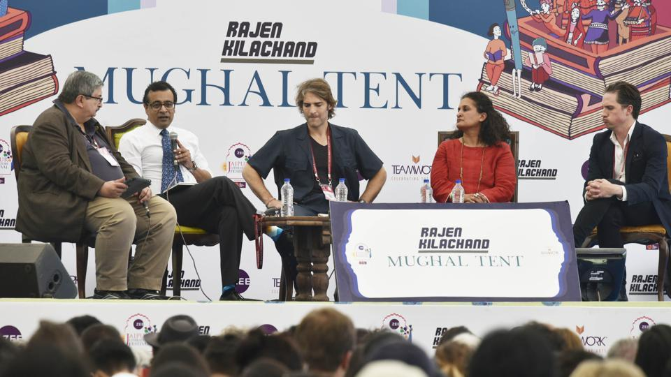 The panellists on the session on the Rohingya crisis included Azeem Ibrahim, Jeffrey Gettleman, Nick Perry, Praveen Swami and Shelley Thakral at the Jaipur Literature Festival on Monday.