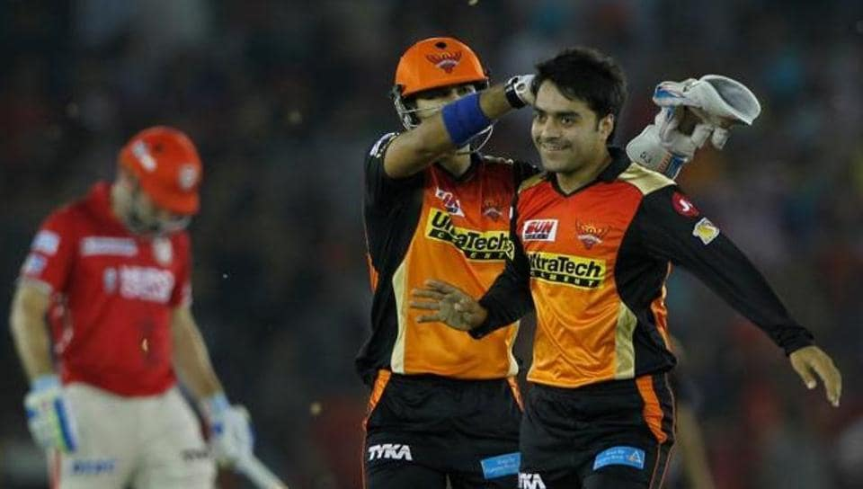 Rashid Khan (R) was retained by Sunrisers Hyderabad for IPL 2018 through the right-to-match option.