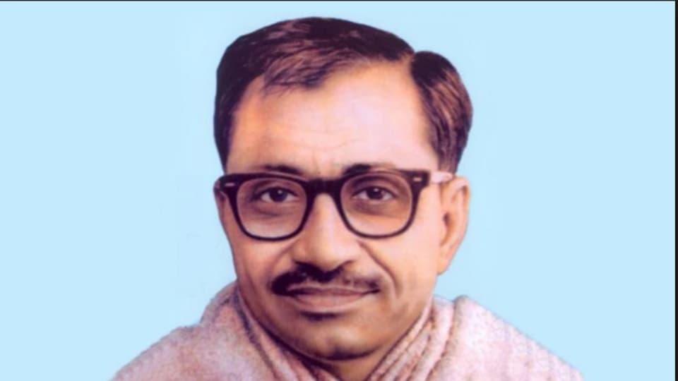 Pandit Deendayal Upadhayaya, one of the founders of Bharatiya Jan Sangh.