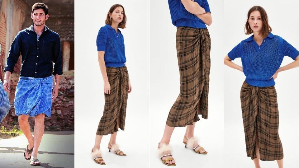 Zara's 'check mini skirt' and Mahesh Babu (extreme right) in Tamil film, Srimanthudu.