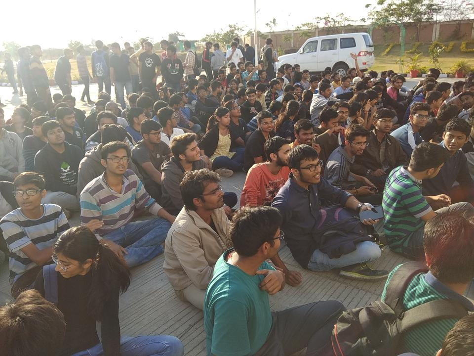 IIT Indore students staging dharna before the director's office recently.