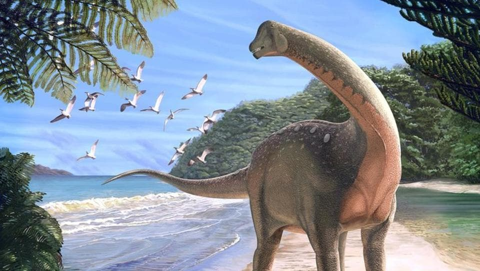 Artist's life reconstruction of the titanosaurian dinosaur Mansourasaurus shahinae on a coastline in what is now the Western Desert of Egypt approximately 80 million years ago is pictured in this undated handout image obtained by Reuters on January 29, 2018.