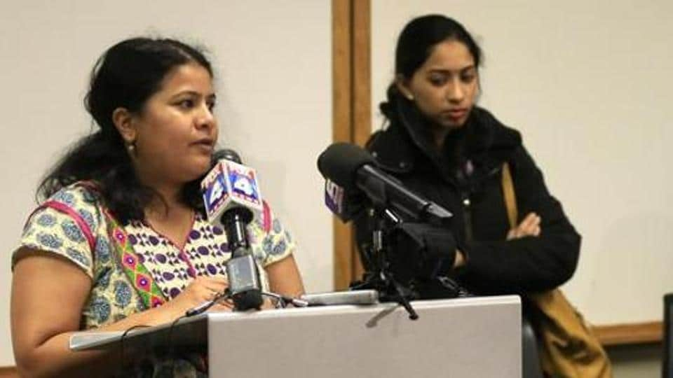 Sunayana Dumala, left, talks about her late husband, Srinivas Kuchibhotla, during a news conference at Garmin Headquarters in Olathe, Kan., Friday, Feb. 24, 2017.