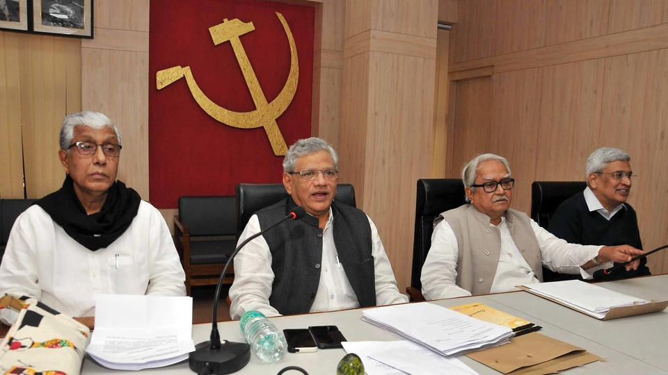 CPI(M) leader Sitaram Yechury, Tripura Chief Minister Manik Sarkar, Left Front chairman Biman Bose and former CPI(M) general secretary Prakash Karat during party's central committee meeting, in Kolkata.