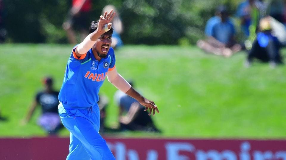 Indian U-19 cricket team's Ishan Porel appeals for a leg-before-wicket on Pakistan U-19 cricket team's Ammad Alam during the ICC U-19 Cricket World Cup semi-final at Hagley Oval in Christchurch on Tuesday.