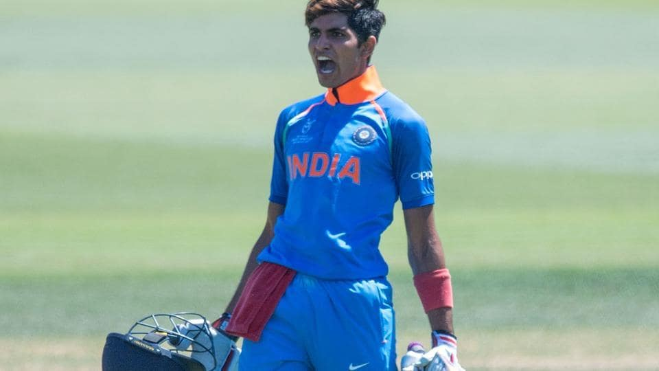 India U-19 cricket team's Shubman Gill celebrates his century during the ICC U-19 Cricket World Cup semi-final against Pakistan U-19 cricket team at Hagley Oval in Christchurch on Tuesday.