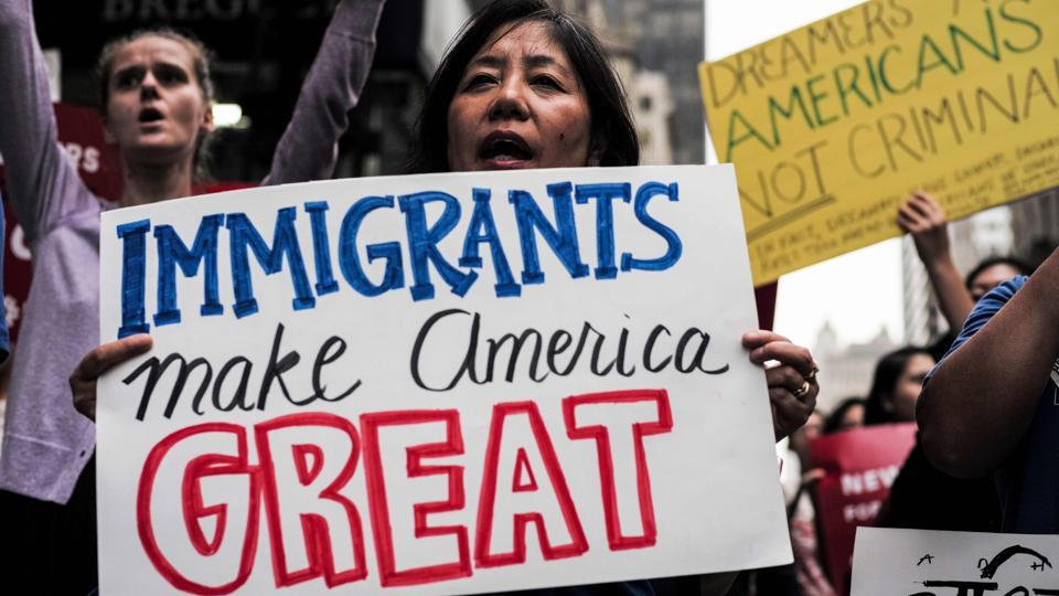 This file photo taken on October 5, 2017 shows protesters during a demonstration against US President Donald Trump during a rally in support of the Deferred Action for Childhood Arrivals (DACA), also known as Dream Act, near the Trump Tower in New York.