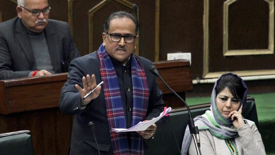 Jammu and Kashmir deputy CM Nirmal Kumar Singh speaks in the legislative assembly during the budget session in Jammu.