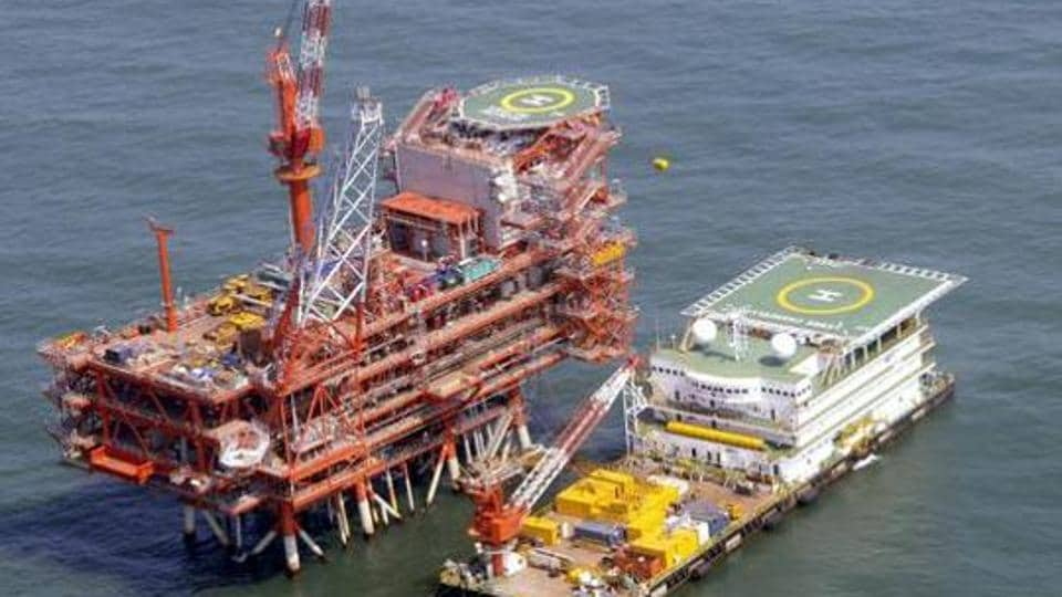 India's Reliance Industries KG-D6's control and raiser platform is seen off the Bay of Bengal in this undated handout photo.