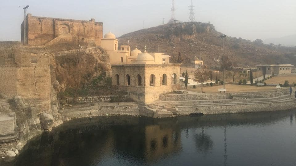 The sacred pond at the Katas Raj temple complex has been temporarily filled with water from a nearby source.