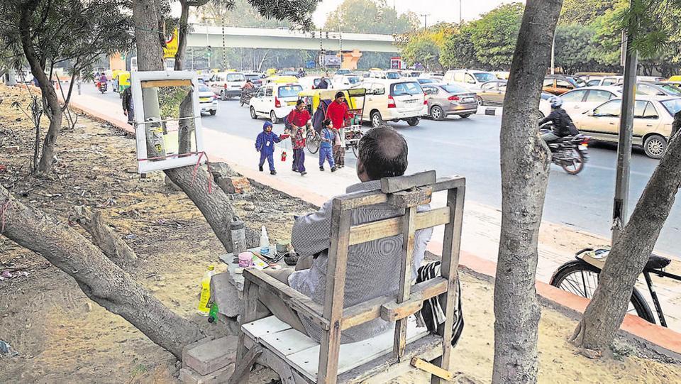 Ashok's salon opposite Bluebells School in south Delhi.