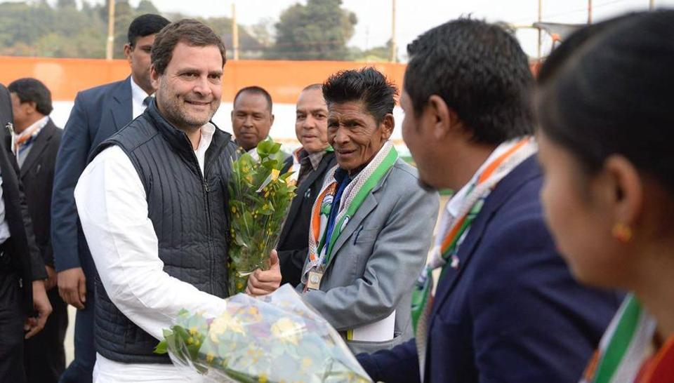 Rahul Gandhi interacting with party workers in Jowai, Meghalaya on Tuesday.