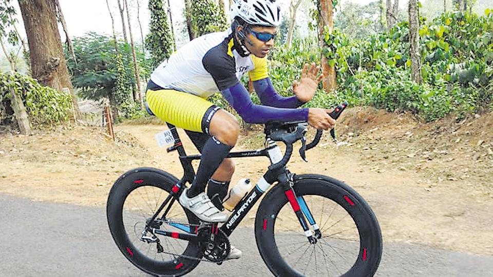 Lt Col Srinivas Gokulnath in action during the Ultra Spice, a 1,750 km cycle race which took place in southern India.