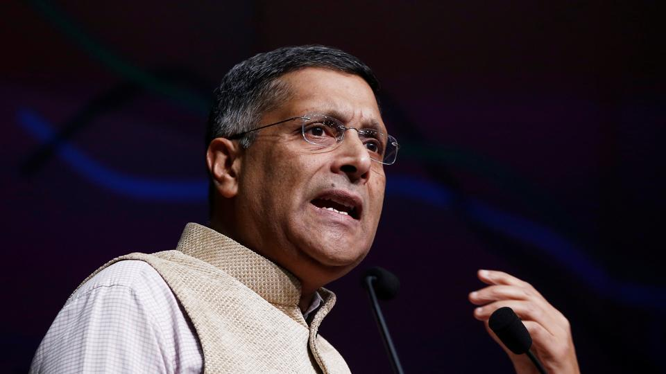 Chief economic adviser Arvind Subramanian at a news conference in New Delhi.