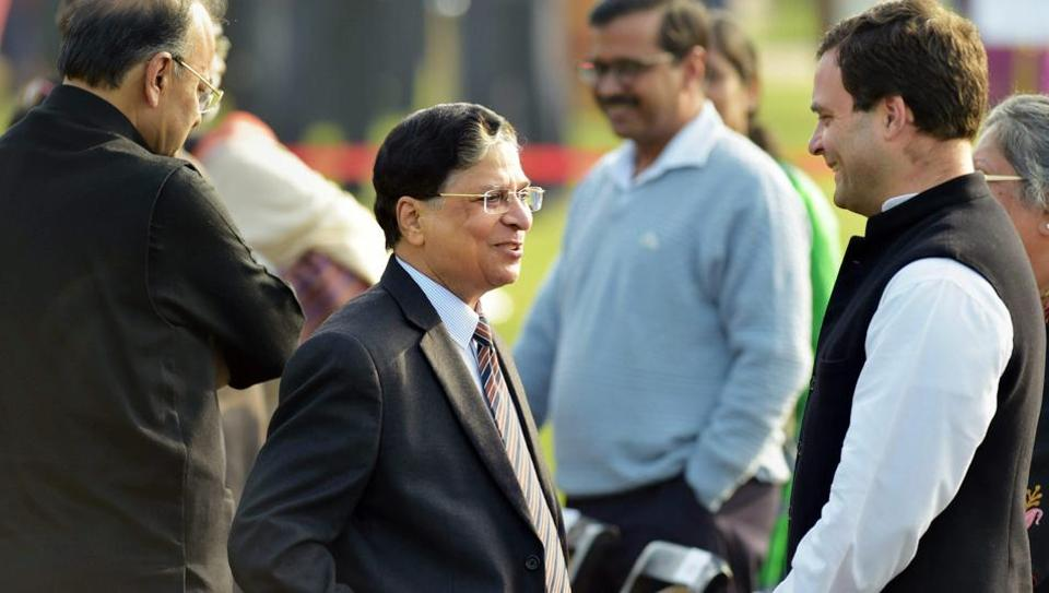 Chief Justice of India Dipak Misra, seen with Congress president Rahul Gandhi, met senior judges of the Supreme Court at an event on Tuesday.