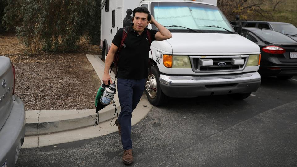 "Brian Caballero, 25, lives in a converted ambulance on the California State Polytechnic University campus, where he is pursuing a degree. His concerns about DACA extend to employment: ""When I finally graduate, not being able to be employed, terrifies me... The vast majority of people who are unauthorised in this country... are like me: here, trying to seek an education and just trying to improve their lives."" (Lucy Nicholson / REUTERS)"