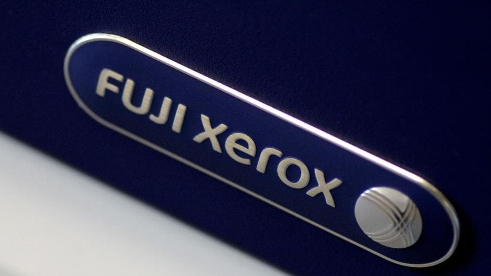 The Fuji Xerox logo is seen on a photocopier in this illustration photo