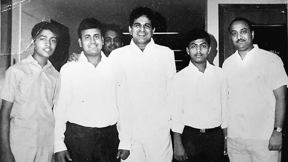 Haji Zahooruddin (extreme right) with Bollywood star Dilip Kumar.