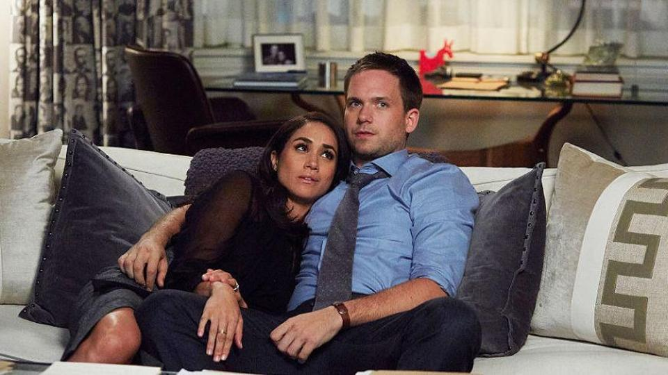 Meghan Markle and Patrick J Adams play a couple in Suits.