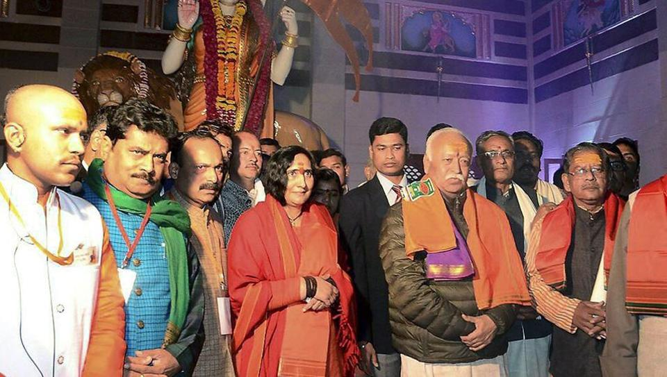 RSS chief Mohan Bhagwat at the unveiling of a statue of 'Bharat Mata' in Ujjain on January 4.
