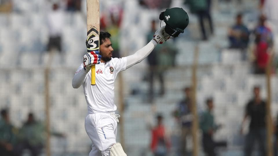 Bangladesh's Mominul Haque acknowledges the crowd after scoring a ton during the first day of their first Test against Sri Lanka in Chittagong, Bangladesh, on Wednesday.
