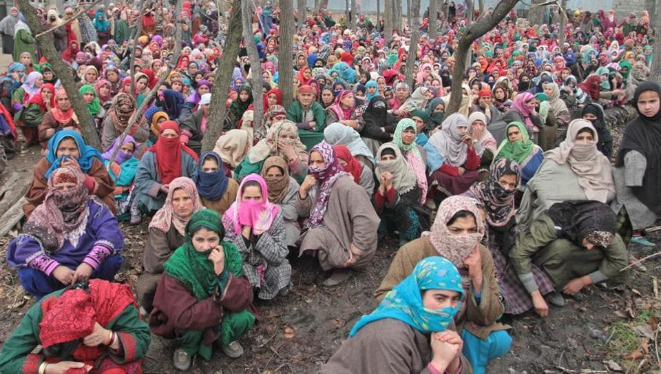 Women at the funeral procession of Rayees Ahmed in Narapora, 55 kilometres south of Srinagar, on Wednesday. Ahmed, who was hit by a bullet in Shopian last week, succumbed to his injuries today.