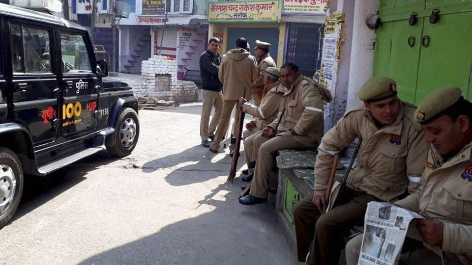 Rapid Action Force (RAF) and Provincial Armed Constabulary (PAC) personnel have been deployed in Kasganj to keep check on protests and violence.