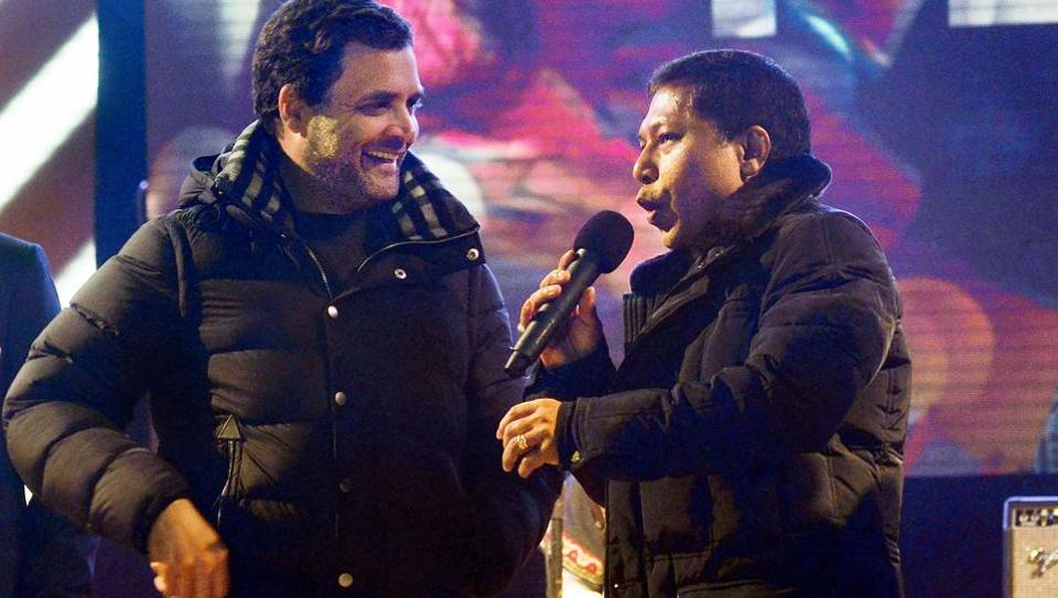 "Congress President Rahul Gandhi with Meghalaya chief minister Mukul Sangma at a musical evening ""Celebration of Peace "" in Shillong on Tuesday."