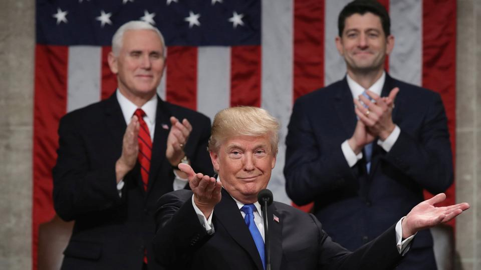 US President Donald Trump delivers his first State of the Union address to a joint session of Congress inside the House Chamber on Capitol Hill in Washington, US.