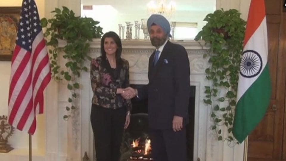 US ambassador to the UN Nikki Haley meets Indian envoy to the US Navtej Sarna at the Indian Embassy in Washington DC. (ANI)