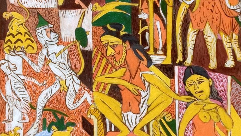 KG Subramanyan, Varanasi I, Gouche and acrylic on canvas, is on display as part of Mumbai Gallery Weekend 2018.