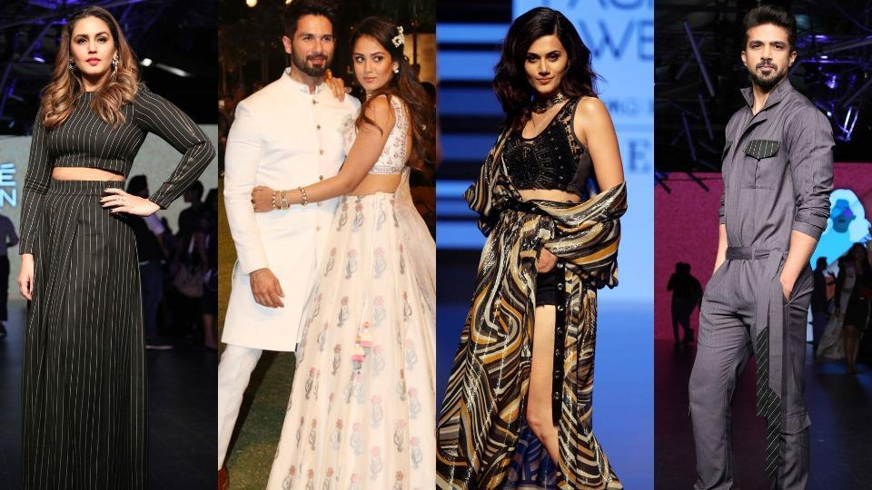 From front row and red carpet appearances by Shamita Shetty and Sangeeta Bijlani, to impeccable catwalks and enviable outfits on Huma Qureshi, Shahid Kapoor, Mira Rajput, Taapsee Pannu and Saqib Saleem, here are some of the most stylish celebrity sightings from Lakme Fashion Week Summer/ Resort 2018.