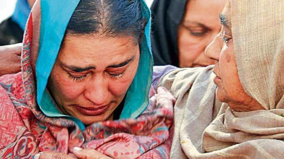 Hardeep Kaur, mother of Japsimran Singh, 14, who was killed in the bomb blasts in Maur on Wednesday.