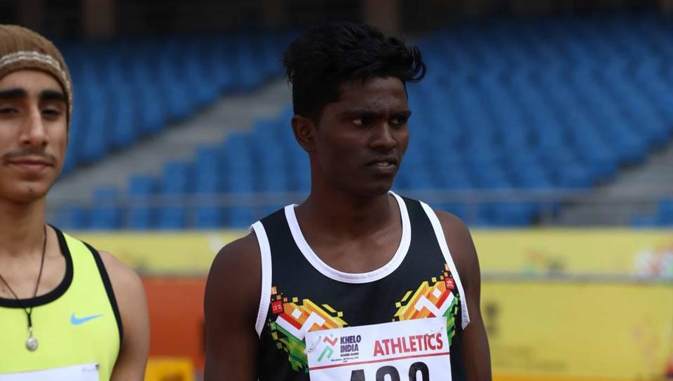 Tamil Nadu's C Praveen (489 bib) had to settle for silver in long jump at Khelo India School Games.