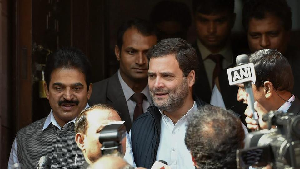 Congress president Rahul Gandhi reacts on the Union Budget 2018-19 at the Parliament in New Delhi.