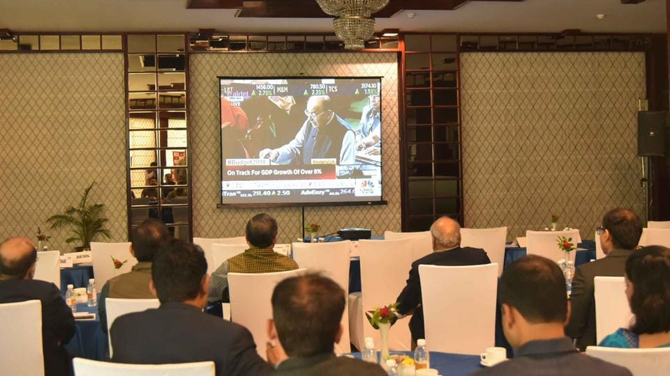 Businesspersons and industrialists  in Jaipur watching the Union budget telecast on a news channel on Thursday.