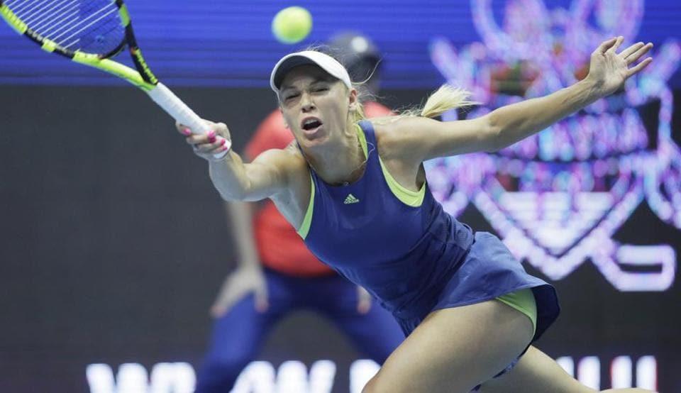 Caroline Wozniacki of Denmark returns to Anastasia Potapova of Russia during the St. Petersburg WTA tennis tournament match in St.Petersburg, Russia, on Thursday.