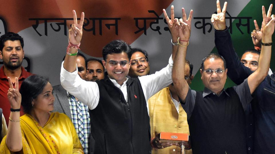 Rajasthan Pradesh Congress Committee President Sachin Pilot and Congress workers celebrate their victory in by-elections at party headquarters in Jaipur on Thursday.