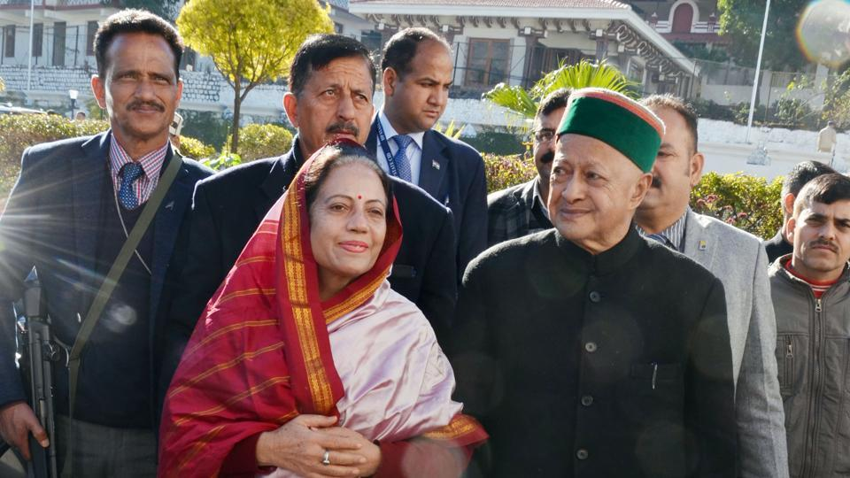 Former Himachal Pradesh chief minister Virbhadra Singh (R) and his wife have been named as accused in a disproportionate assets case in the supplementary charge sheet filed by the Enforcement Directorate (ED) in Delhi's Patiala House court on Thursday. (Shyam Sharma / HT Photo)