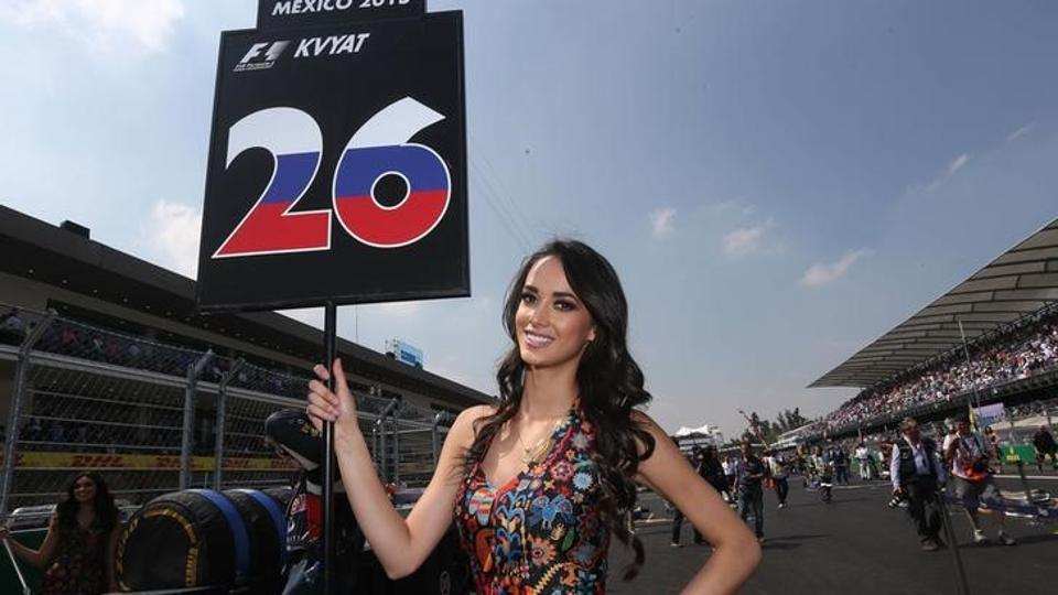 A Grid girl in the paddock before the Mexican Grand Prix.