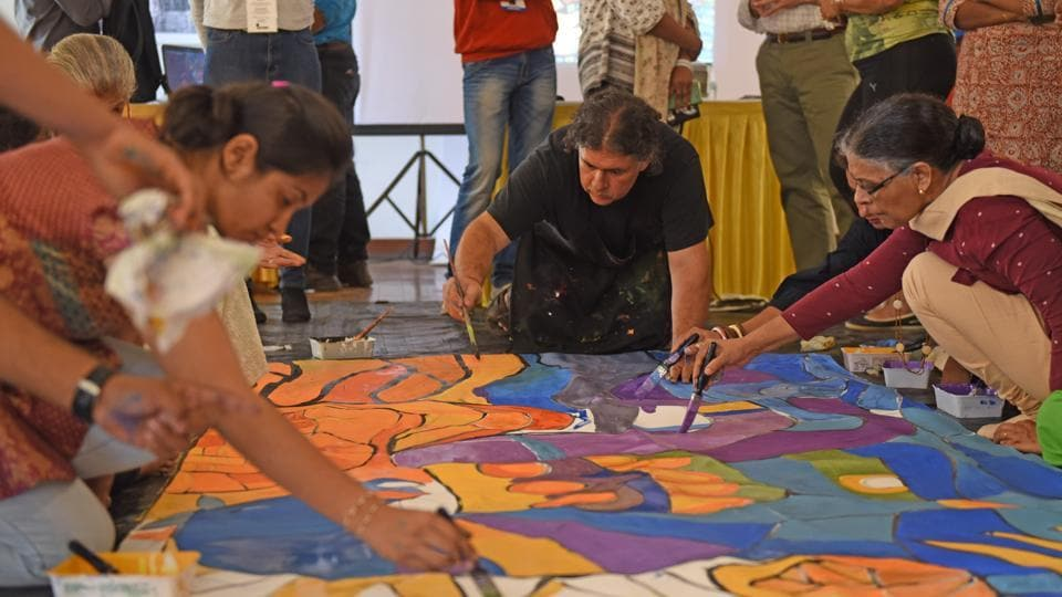 A mural painting workshop conducted at KGAF last year.