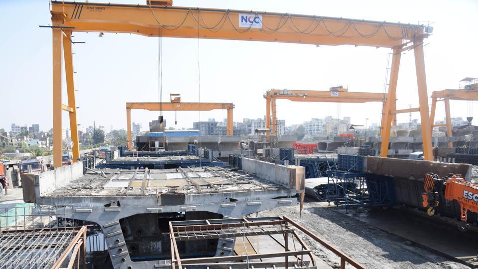 The ongoing Pune Metro work between Dapodi and Pimpri.
