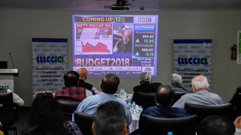 Prominent industrialists and experts watching the live telecast of Union Budget 2018 at Navalmal Firodia Hall, MCCIA in Pune, India, on February 1.